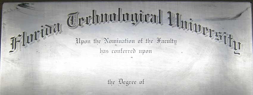 FTU Printing Plate, circa 1968