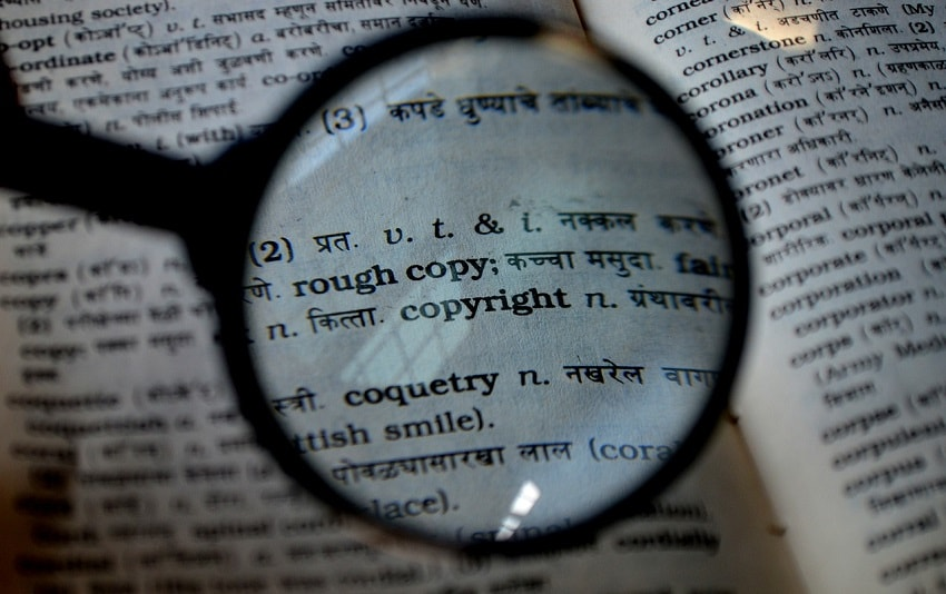 "Magnifying glass above ""copyright"" in dictionary"