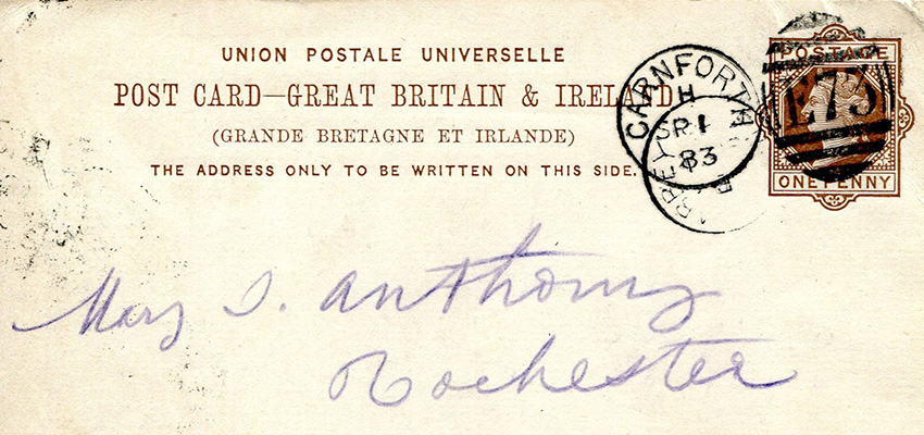 Handwritten postcard by Susan B. Anthony sent to her sister Mary S. Anthony, circa 1883