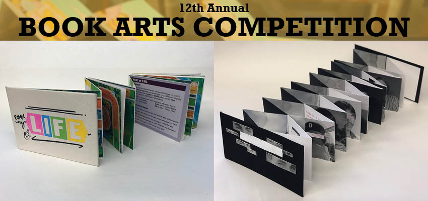 """Reflections of Facts"" by Hannah Carter and ""F___My Life"" by Aaron Stefan, winners of the 2017 UCF Student Book Arts Competition"