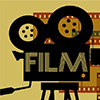 """Film"" with Camera and film strip background"