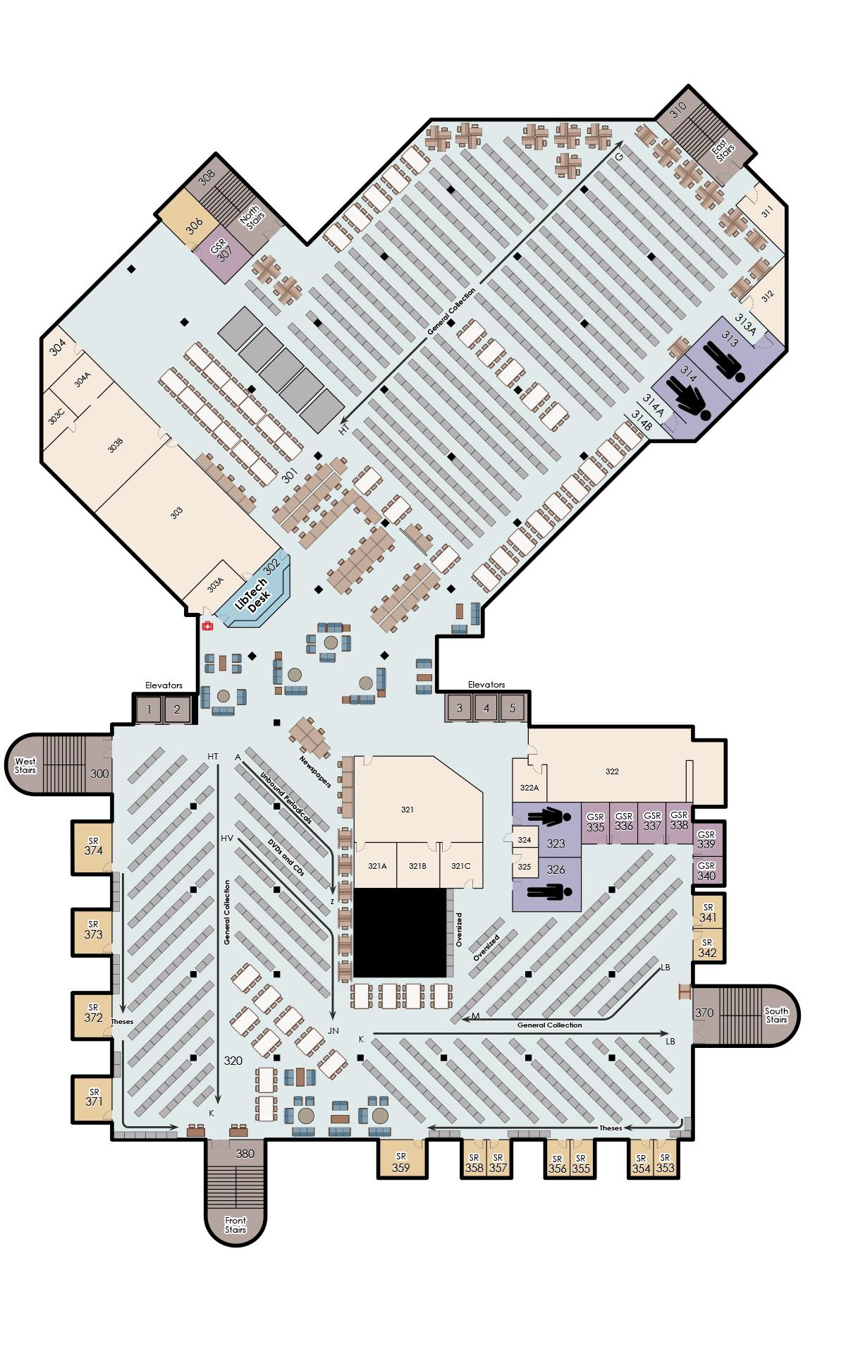 John C. Hitt, 3rd Floor Map