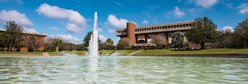 View of John C Hitt Library and fountain